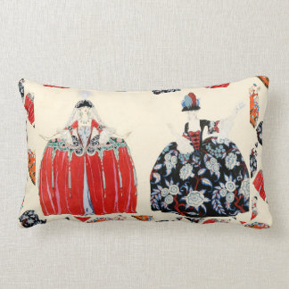 LADY IN RED ART DECO FASHION COSTUME DESIGNER LUMBAR PILLOW