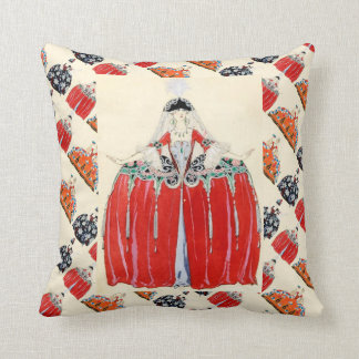 LADY IN RED ART DECO FASHION COSTUME DESIGNER THROW PILLOW