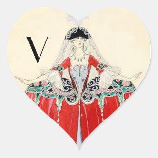 LADY IN RED,BEAUTY,FASHION COSTUME ,HEART MONOGRAM HEART STICKER