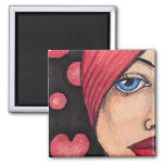 lady in red fridge magnet