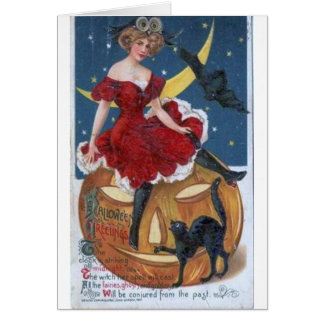 Lady in Red Halloween Card