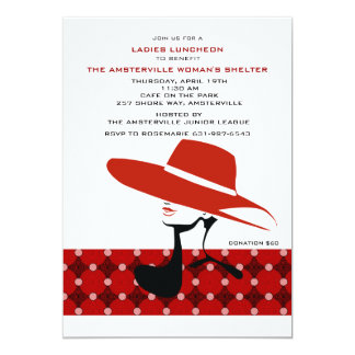 Lady in Red Hat Invitation