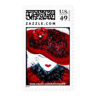 lady in red hat postage