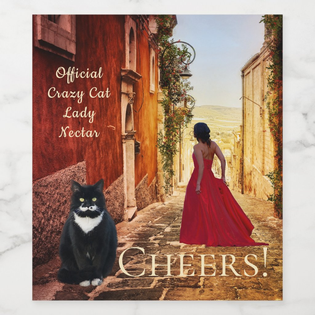 Lady in Red Italian Fine Art Wine Label