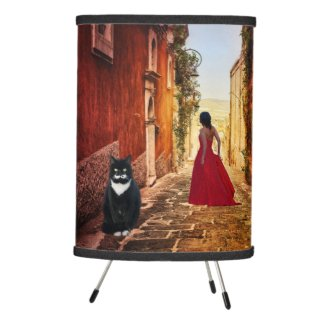 Lady in Red Italian Painting with Cat Lamp