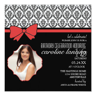 Lady in Red Photo Invitation
