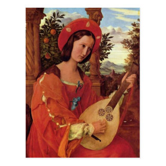 Lady in Red Playing A Lute Postcard