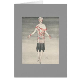 lady in red shawl art deco card