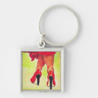 Lady in Red Silver-Colored Square Keychain