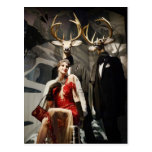 Lady in Red with Deer Mannequins Postcard