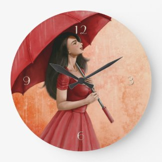 Lady in Red with Umbrella Painting Wall Clock
