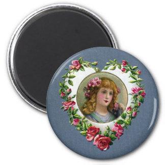 Lady in Rose Heart True Love Valentine Magnet