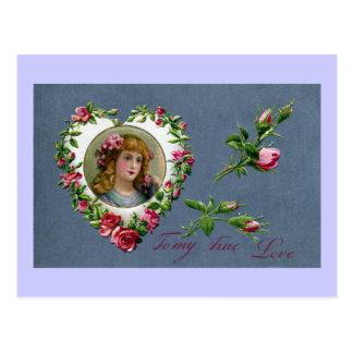 Lady in Rose Heart True Love Valentine Postcard