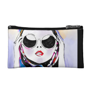 Lady in sunglasses cosmetic bag