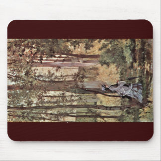 Lady In The Forest By Fattori Giovanni Mouse Pads