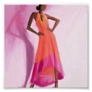 Lady in the Pink dress Poster