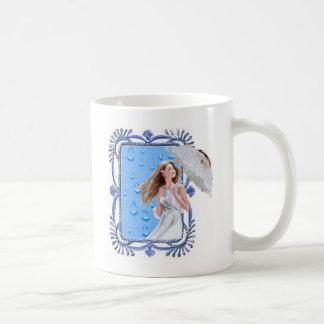 Lady in the rain coffee mug