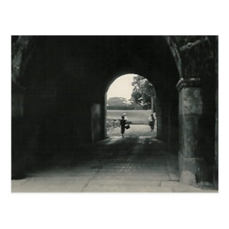 lady in tunnel postcard
