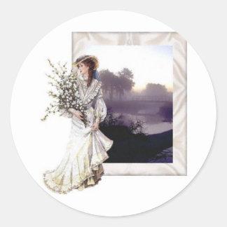 Lady in White Classic Round Sticker