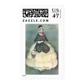 Lady in White Dress with Wrap Vintage New Year Postage
