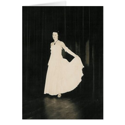 lady in white greeting card
