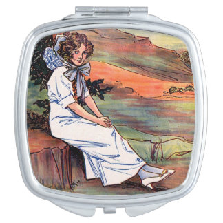 Lady in White Makeup Mirror