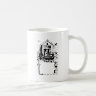 Lady in Window, Birds and Grapevine Coffee Mug