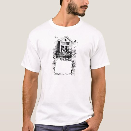 Lady in Window, Birds and Grapevine T-Shirt