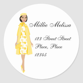 Lady In Yellow Classic Round Sticker