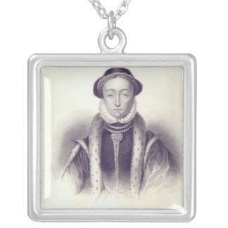 Lady Jane Grey, engraved by S. Freeman Square Pendant Necklace