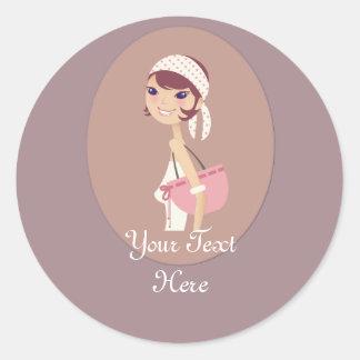 Lady Jewelry Shopping Customizable Items Classic Round Sticker
