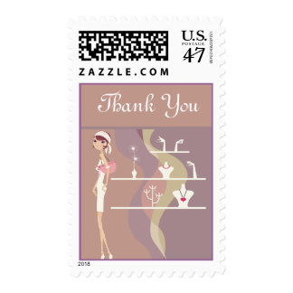 Lady Jewelry Shopping Design 4 Postage Stamps