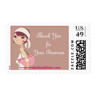 Lady Jewelry Shopping GirlyDesign 6 Postage Stamps