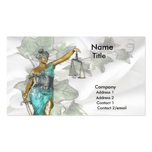 Lady Justice 1 Double-Sided Standard Business Cards (Pack Of 100)