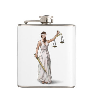 Lady Justice Hip Flask