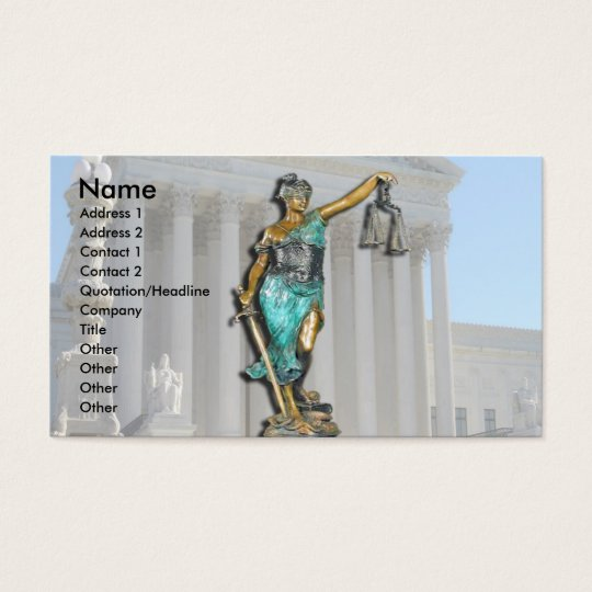 Lady Justice on Supreme Court Business Card