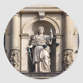 Lady Justice with Sword and Scale Classic Round Sticker