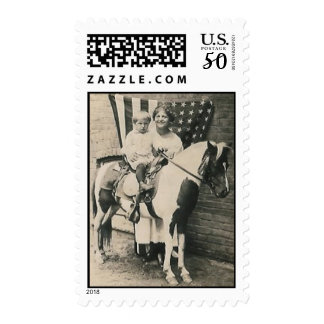 lady kid horse and a flag postage