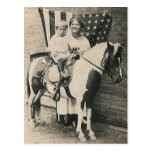 lady kid horse and a flag postcard
