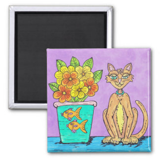 Lady Kitten and Flowers magnet