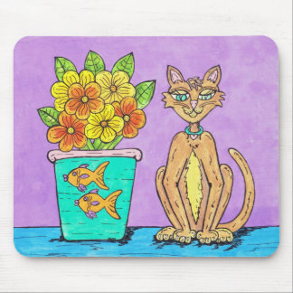 Lady Kitten and Flowers mousepad