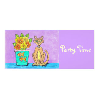 Lady Kitten and Flowers, Party Time Invitations