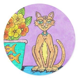 Lady Kitten and Flowers sticker sticker
