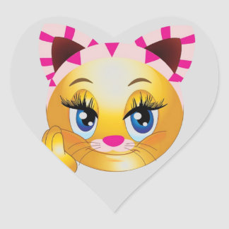 Lady Kitty Smiley Face Heart Sticker