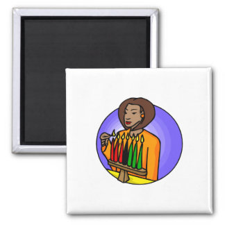 Lady Kwanzaa Candles 2 Inch Square Magnet