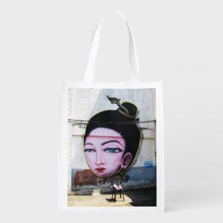 Lady Lao Graffiti Street Art Reusable Grocery Bag