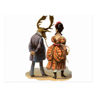 Lady Leading Her Elk-man Postcard