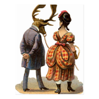Lady Leading Her Elk-man Postcard