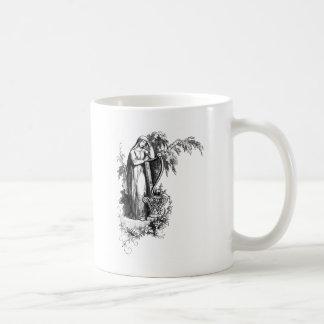 Lady Leaning on Harp Letter W Coffee Mug