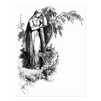 Lady Leaning on Harp Letter W Postcard